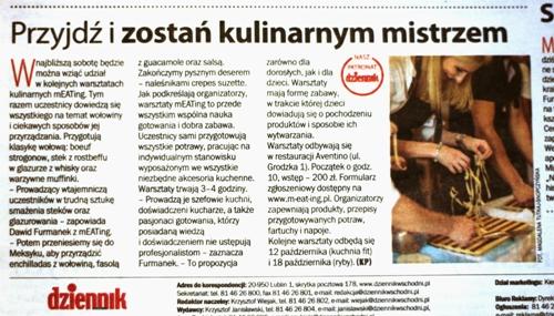 Miasto Lublin Warsztaty kulinarne Biznes Firmy mEATing Lubelskie